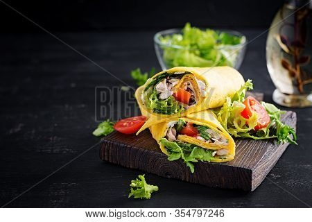 Fresh Tortilla Wraps With Chicken And Fresh Vegetables On Wooden Board. Chicken Burrito. Mexican Cui