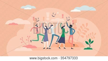 Joy Concept, Flat Tiny Person Vector Illustration. Happy People Jumping And Waving With Hands. Joyfu