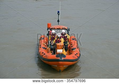 Weston-super-mare, Uk - August 19, 2018: The Atlantic 75 Class Lifeboat Paul Alexander At Sea On The