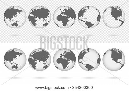 Transparent Earth Globes From Different Sides With Shadow. World Map Globe Symbols Set Isolated On T