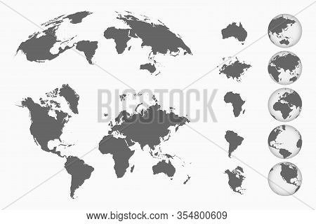 World Map Set. Earth Globes From Different Sides, Maps Of Continents And 3d Map. Vector Illustration
