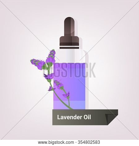Dropping Essential Lavender Oil Glass Bottle With Violet Flower And Liquid Natural Face Body Beauty