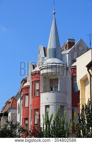 Szeged Town Street View, Hungary. Town In Csongrad County. Colorful Residential Architecture.