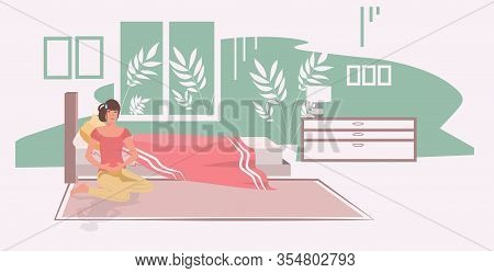 Woman Suffering From Abdominal Pain Injury On Belly Area Girl Having Stomach Ache Modern Bedroom Int