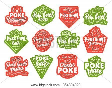 Set Of Poke Bowl Stickers, Patches. Colorful Badges, Emblems, Stamps On White Background.