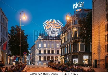 Oslo, Norway - June 24, 2019: Freia Sign In Night. Old Commercial Sign For Norwegian Chocolate Freia