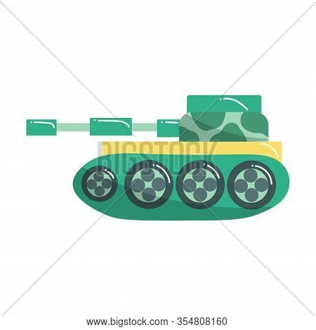 Cute Green Tank Toy For Children. Vector Illustration Isolated On White Background
