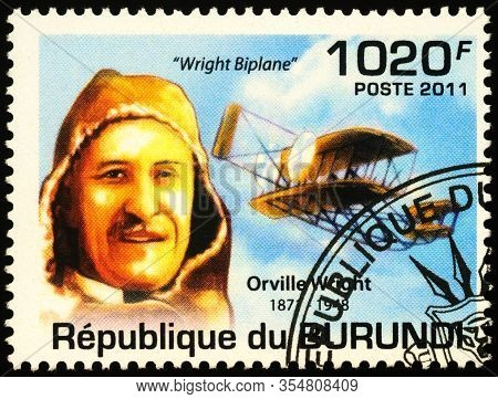 Moscow, Russia - March 09, 2020: Stamp Printed In Burundi Shows Orville Wright (1871-1948), American