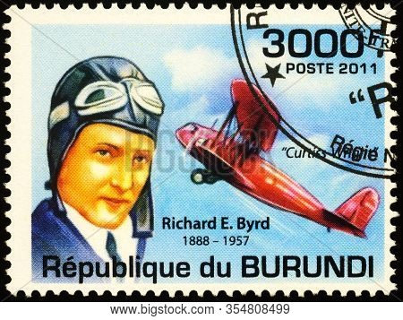 Moscow, Russia - March 09, 2020: Stamp Printed In Burundi Shows Richard Byrd (1888-1957), American N