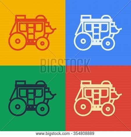 Pop Art Line Western Stagecoach Icon Isolated On Color Background. Vector Illustration