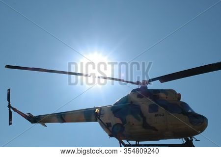 Military. Old Military Equipment Of The Ussr And Russia. Mi-2 Helicopter. Military-patriotic Park Of