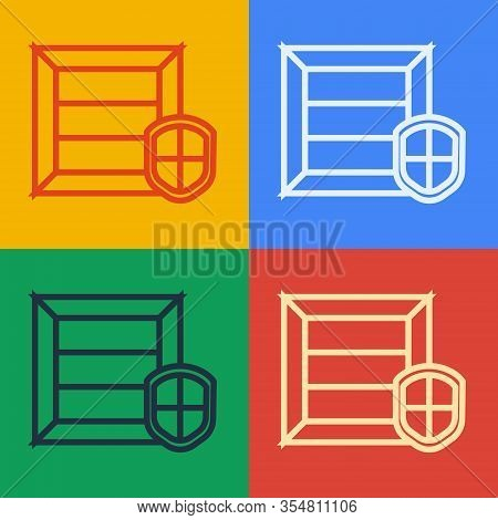 Pop Art Line Delivery Pack Security With Shield Icon Isolated On Color Background. Delivery Insuranc