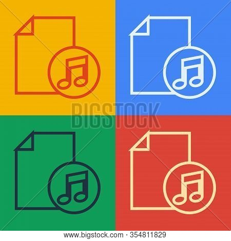 Pop Art Line Music Book With Note Icon Isolated On Color Background. Music Sheet With Note Stave. No