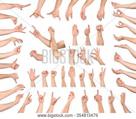 Compilation Of 46 Hand Gestures Isolated With White Background