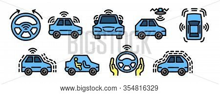 Driverless Car Icons Set. Outline Set Of Driverless Car Vector Icons For Web Design Isolated On Whit