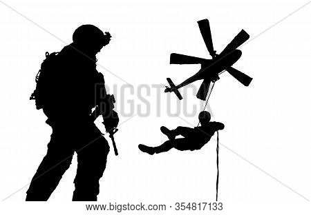 Military Troops Roping To Destroyed City / Silhouette Vector