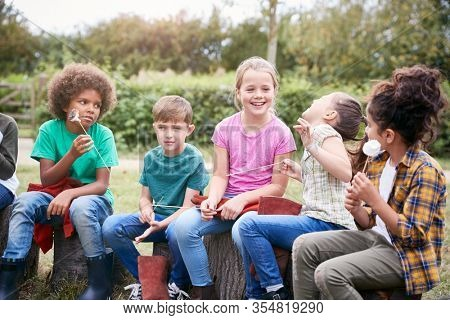 Children On Outdoor Activity Camping Trip Eating Marshmallows Around Camp Fire Together