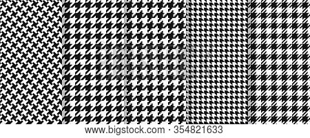 Houndstooth Seamless Pattern. Vector. Plaid Tweed Background. Geometric Black White Fabric With Houn