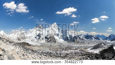 Mount Everest, Himalaya, Panoramic View From Kala Patthar Of Himalayas Mountains With Beautiful Sky