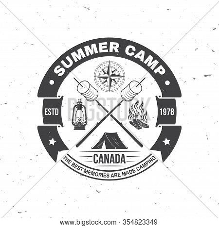 Summer Camp. Happiness Is Toasted Marshmallows. Vector Illustration. Vintage Typography Design With