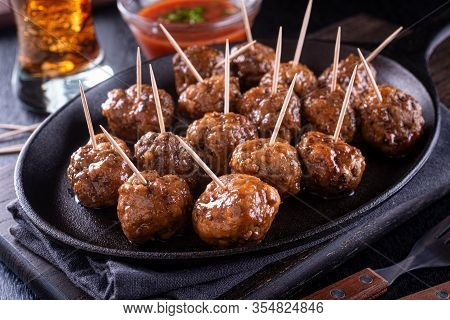 A Platter Of Delicious Sweet And Spicy Meatballs.