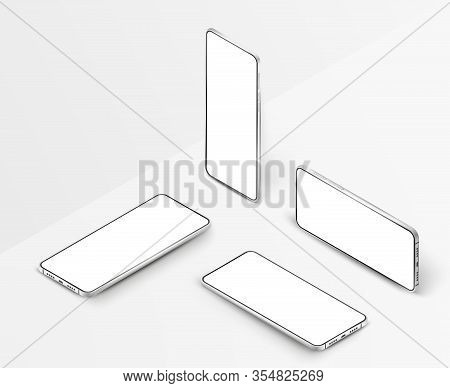Set Of White Realistic Isometric Smartphones. 3d Mobile Phones With Blank White Screen. Modern Cell