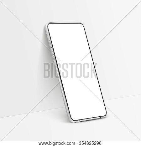 White Realistic Smartphone Mockup. 3d Mobile Phone With Blank White Screen. Modern Cell Phone Templa