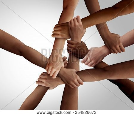 Business Diversity And Teamwork As A Group Of Diverse People Holding Arms As A Multiracial Society A