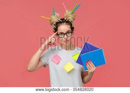 Smiling Student In A White Shirt And Glasses, Sticky Notes On A Shirt And Colorful Markers In Dreads