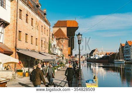 February 14, 2020. Poland, Gdansk. View Of Old Town Gdansk Gda Sk , Poland Polska With Merchants Hou