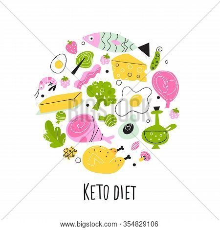Ketogenic Diet. Vector Illustration Of Healthy Keto Food. Round Composition