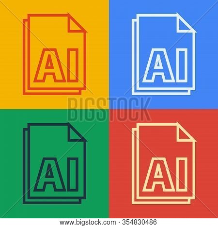 Pop Art Line Ai File Document. Download Ai Button Icon Isolated On Color Background. Ai File Symbol.