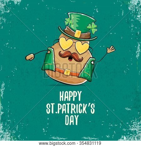 Happy Saint Patricks Day Greeting Card With Funky Leprechaun Rock Star Potato Character With Green P