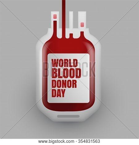 Blood Donation Bottle For World Blood Donor Day Vector Design Illustration