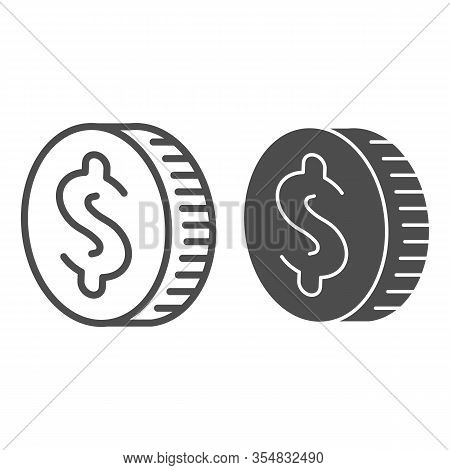 Coin Cash Line And Solid Icon. One Dollar Currency, Dime Piece Of Savings Symbol, Outline Style Pict