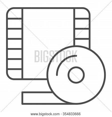 Videotape Frame Thin Line Icon. Film Strip Symbol, Outline Style Pictogram On White Background. Mult