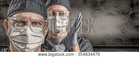 Female and Male Doctors or Nurses Wearing Scrubs and Protective Mask and Goggles Banner.