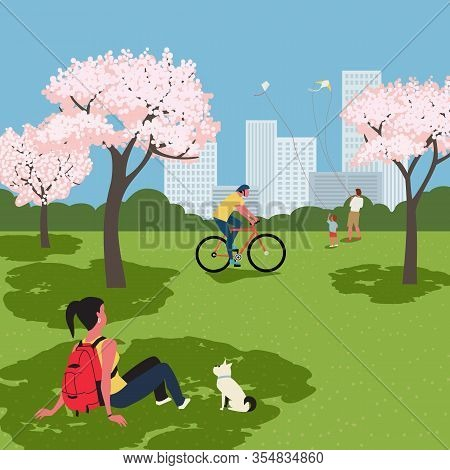 Blooming Cherry Trees City Park Recreation Zone Flat Vector. Public Park Outdoors Rest Leisure Activ