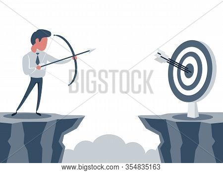 Vector Illustration Flat. Businessman Standing On Cliff With Archer In Hand. Business Target Goals C