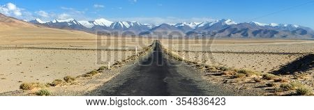 Pamir Highway Or Pamirskij Trakt Near Karakul Village And Lake. Landscape Around Pamir Highway M41 I