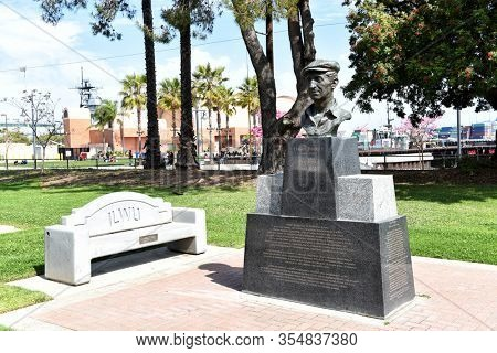 SAN PEDRO, CALIFORNIA - 06 MAR 2020: Statue of Harry Bridges founder of the International Longshore and Warehouse Union (ILWU).