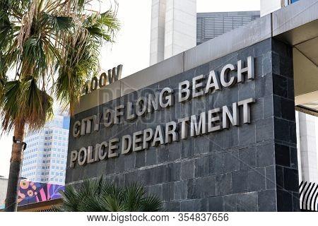 LONG BEACH, CALIFORNIA - 06 MAR 2020: Closeup of the City of Long Beach Police Department sign.