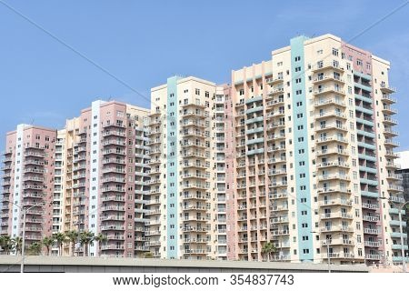 LONG BEACH, CALIFORNIA - 06 MAR 2020: Aqua Condominiums on Ocean Boulevard in Downtown.