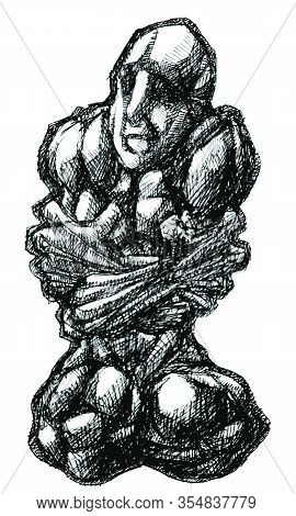 Ink Drawing (hatch Work) Of Contorted Detailed Muscular Body In A Textured Unique Style. Artistic Ma
