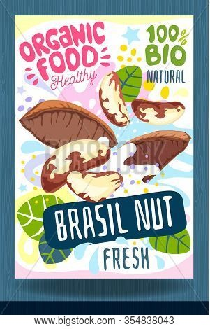 Abstract Splash Food Label Template. Colorful Brush Stroke. Nuts, Vegetables, Herbs, Package Design.