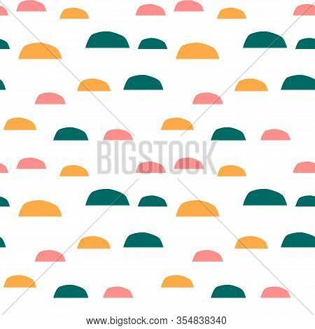 Trendy Seamless Pattern With Graphic Abstract Shapes. Geometric Wallpaper, Cover Design.