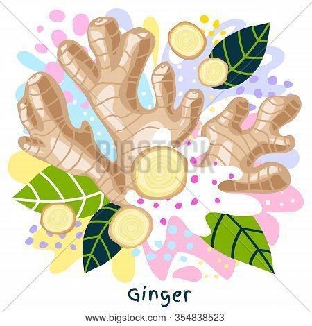 Fresh Ginger Root Juice Splash Organic Food Condiment Splatter.  Herbs. Abstract Colorful Art Splatt