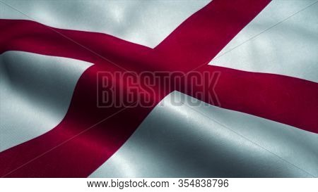 Alabama Flag Waving In The Wind. Sign Of Alabama. 3d Rendering.