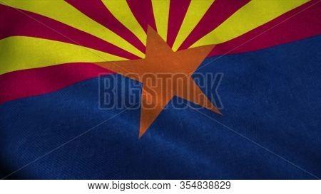 Arizona Flag Waving In The Wind. National Flag Of Arizona. Sign Of Arizona. 3d Rendering.