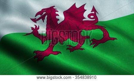 Wales Flag Waving In The Wind. Sign Of Wales. 3d Rendering.